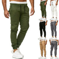 Men Summer Sweatpants Slacks Elastic Joggings Sport Solid Pants Pockets Trousers