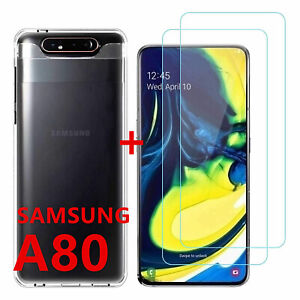Custodia Samsung A80 Protezione Silicone Trasparente + Film Vetro Temperato 9H