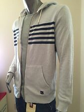 $90 new quicksilver grey navy stripe sweater HOODY jacket size small