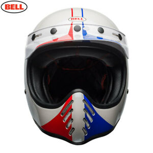 BELL Cruiser MOTO 3 Ace Cafe GP 66 White/Red Modern Classic Motorcycle MX Helmet
