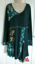 Joe Browns women`s Teal/floral/beaded tunic size 18 BNWT!!! V neck long sleeved