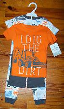 New! Boys CARTER'S 4pc Orange Gray Blue White Construction Pajamas 12 Months