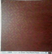 Over the Moon Press Scrapbook Paper 12x12 Red & Gold Leaves EK Success 25 sheets