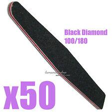 50 PCS Nail Art Sanding File Buffer BLACK Diamond Manicure Salon #100 #180