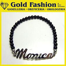 Bracciale argento con tuo nome personalizzato - nero