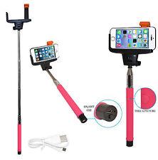 Wireless Bluetooth Mobile Phone Telescopic Monopod Camera Holder Selfie Pink New