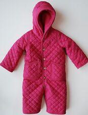 Ralph Lauren Snowsuit 12 M Pink Quilted Hood Fleece Pony Hand Covers Bunting