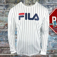 NWT FILA AUTHENTIC MEN'S WHITE CREW NECK LONG SLEEVE T-SHIRT SIZE M L XL 2XL