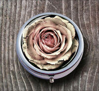 FLOWER ROSE VINTAGE ANTIQUE DESIGN PILL BOX ROUND METAL - acd3Z