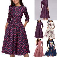 Women Autumn Dress Flower Printed 3/4 Sleeves Vintage A-line Knee-length Dress