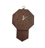 Vintage 60s Mid Century Modern MCM Abstract Octagonal Wood Hanging Wall Clock