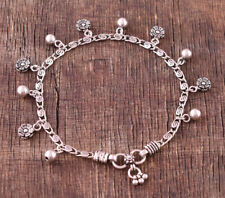 925 Solid Sterling Silver Oxidized Beads & Flower Handcrafted Anklet 10.5""