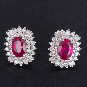 Natural Diamond Oval Red Ruby Earrings Stud Solid 14K White Gold