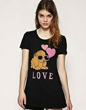 WILDFOX COUTURE PUPPY LOVE BLACK TEE TOP XS 8 4 36!
