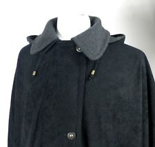Vintage Black Wool Blend Hooded Cape from C & A    Plus Size  UK 22  Classic