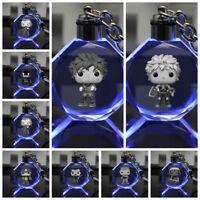 My Hero Academia anime Crystal Key Chain LED light Pendant key chains ornament