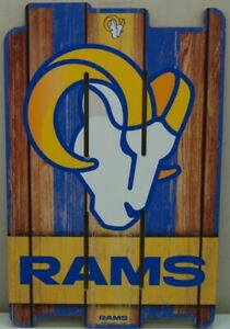 """LOS ANGELES RAMS RAMS HEAD FENCE WOOD SIGN 11""""X17'' NEW WINCRAFT 👀"""