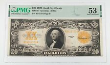1922 $20 Gold Certificate Graded by PMG as About Uncirculated 53 Fr. 1187