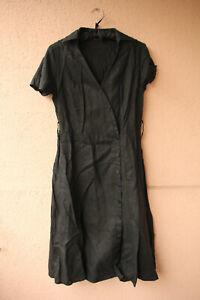 Langes, geknöpftes Leinenkleid mit kurzen Ärmeln von Dresses Unlimited, Größe 38