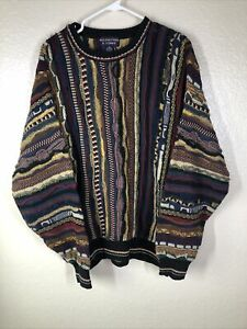 Vintage VTG 90s Roundtree & Yorke Green Coogi Style Knit Sweater Size XXL