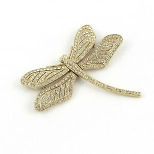 Dragonfly Brooch Pin Articulated Wings Gold Tone Rhinestones