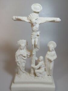 Greek Statue Cast Marble & Alabaster -  Crucifixion / 28 cm 11.02 inches