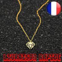 Collier Origami Cône Strass Bijoux Cristal Facettes Charme Chaîne Pendentif Mode