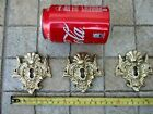 Vintage Lot 3 Brass Large For Furniture Drawe Ornate Key Hole Escutcheon Cover