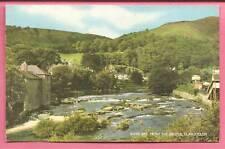 River Dee from The Bridge, Llangollen, Wales postcard. Salmon.