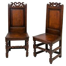 17th C. English Oak Wainscot Chairs -  A Pair
