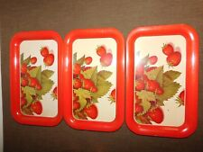 "Vintage Kitchen 3 14 1/4"" X 8 3/4"" Metal Strawberry Serving Trays"