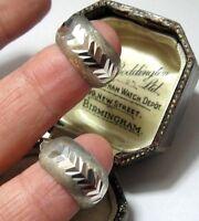 Vintage Jewellery Sterling Silver Modernist Geometrical Etched Hoop EARRINGS
