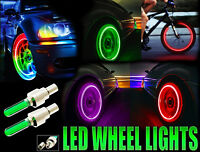 Bike Car Motorbike Cycle Neon LED Tyre Wheel Spoke Valve Flash Light Dust Cap x2