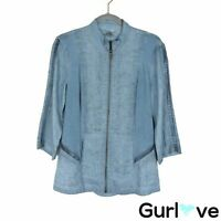 XCVI Size S Women's Top Blue Linen 3/4 Sleeve Full Zip
