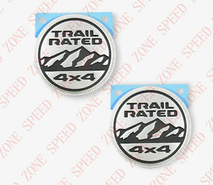 2x2018 JEEP WRANGLER JL GRAY TRAIL RATED FENDER EMBLEM BADGE NAMEPLATE