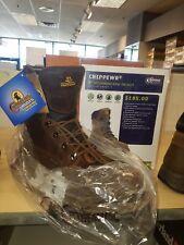 "CHIPPEWA STEELTOE 8"" Heavy Duty Lug Brown Leather Work Boots Men's Size 12"