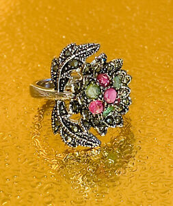 NEW REAL RUBY-EMERALD-MARCASITE STERLING SILVER RHODIUM PLATED SIZE 9/TCW 25