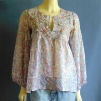 Calypso Christiane Celle 100% Silk Lightweight Babydoll Floral  Top XS