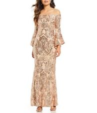 $279 BETSY & ADAM WOMEN'S BEIGE SEQUINED OFF-THE-SHOULDER LONG GOWN DRESS SIZE 2