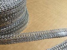1M  SILVER BRAID LACE RIBBON TRIM WITH DIAMANTE 14MM WIDE