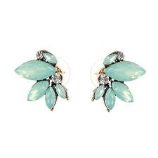 Designer Inspired Romantic Mint Green Flower Crystal Stud Earrings