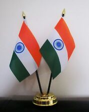 INDIA X2 TABLE FLAG SET 2 flags plus GOLDEN BASE INDIAN