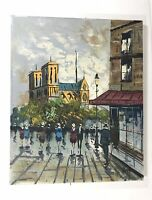"Rocco Original Oil Painting Notre Dame Paris Street 20""x16"" Signed Art Vintage"