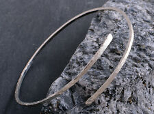 HANDMADE STERLING SILVER SOLID SQUARE HAMMERED  CUFF BANGLE BRACELET 925