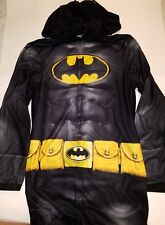 Mens Batman Black Gray Yellow 1 Piece Hooded Polyester Pajamas Size Medium