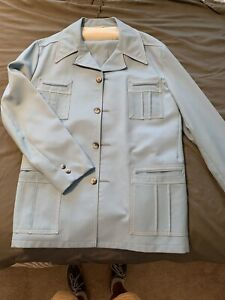 Vintage 70s Mens Leisure Suit Jacket And Trousers Polyester Baby Blue 46L
