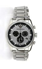 Emporio Armani Chronograph Silver and Black Dial Stainless Steel Men's $345