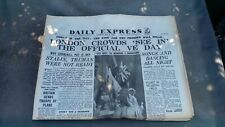 1945 Daily Express Ve Day - reprint dated May 8 1945
