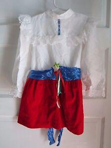 Vintage Kll Filles Sz 5 Rouge Blanc et Bleu Velours Satin À 4th De July Dress US