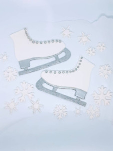 ice skates and snowflakes Edible Fondant Cake Topper Birthday party